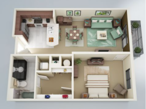 Illustration of one bedroom one bath home space