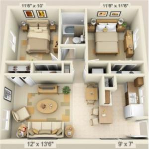 Illustration of 2 bedroom 2 bath home space