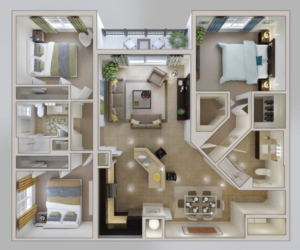 Illustration of 3 bedroom and 2 bath living space