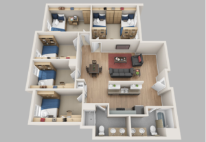 Illustration of 5 or more bedroom living space