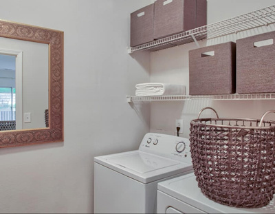 Organized and clean laundry room